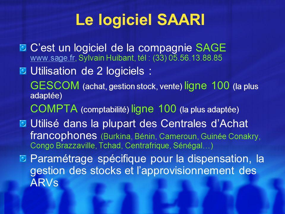 Le logiciel SAARI C'est un logiciel de la compagnie SAGE www.sage.fr, Sylvain Huibant, tél : (33) 05.56.13.88.85.