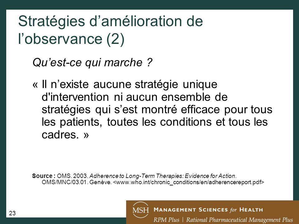 Stratégies d'amélioration de l'observance (2)