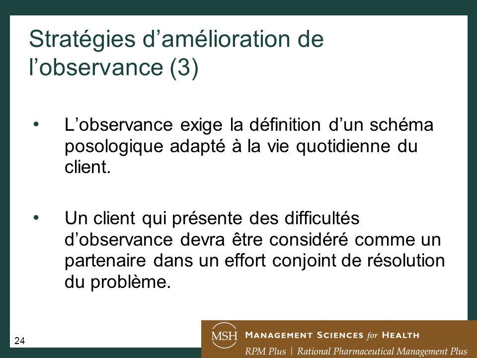 Stratégies d'amélioration de l'observance (3)