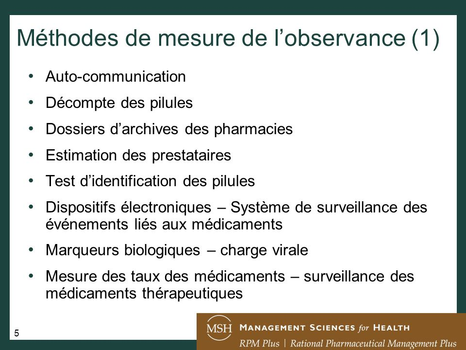 Méthodes de mesure de l'observance (1)