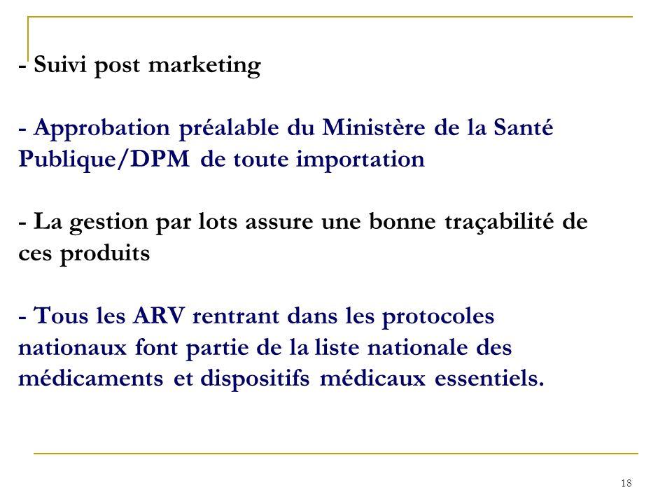 - Suivi post marketing - Approbation préalable du Ministère de la Santé Publique/DPM de toute importation - La gestion par lots assure une bonne traçabilité de ces produits - Tous les ARV rentrant dans les protocoles nationaux font partie de la liste nationale des médicaments et dispositifs médicaux essentiels.