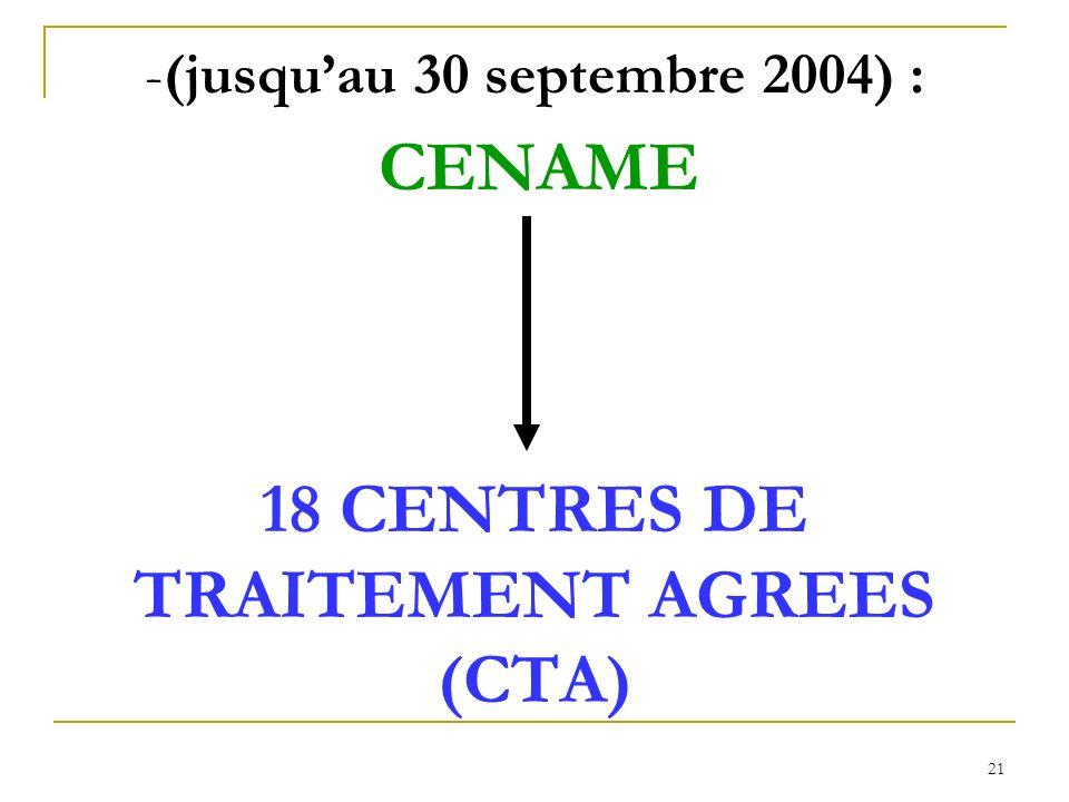 (jusqu'au 30 septembre 2004) : CENAME 18 CENTRES DE TRAITEMENT AGREES (CTA)