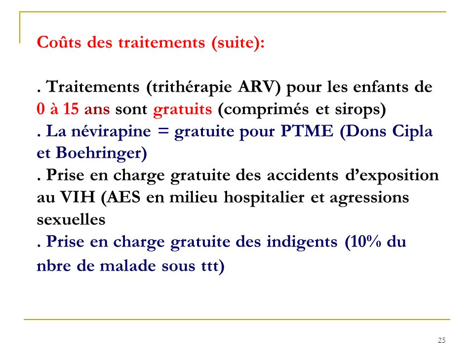 Coûts des traitements (suite):