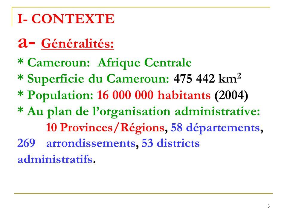 I- CONTEXTE a- Généralités:. Cameroun: Afrique Centrale