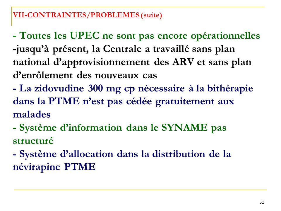VII-CONTRAINTES/PROBLEMES (suite) - Toutes les UPEC ne sont pas encore opérationnelles -jusqu'à présent, la Centrale a travaillé sans plan national d'approvisionnement des ARV et sans plan d'enrôlement des nouveaux cas - La zidovudine 300 mg cp nécessaire à la bithérapie dans la PTME n'est pas cédée gratuitement aux malades - Système d'information dans le SYNAME pas structuré - Système d'allocation dans la distribution de la névirapine PTME