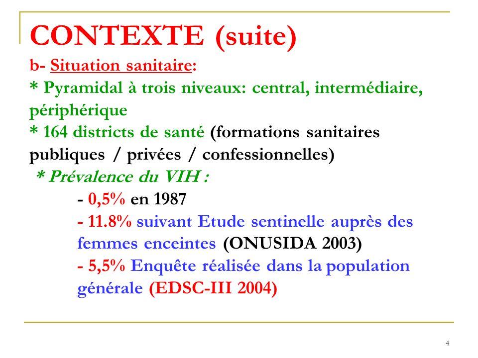 CONTEXTE (suite) b- Situation sanitaire: