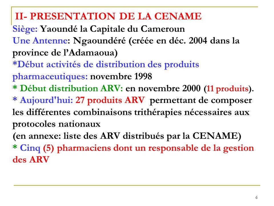 II- PRESENTATION DE LA CENAME Siège: Yaoundé la Capitale du Cameroun Une Antenne: Ngaoundéré (créée en déc.