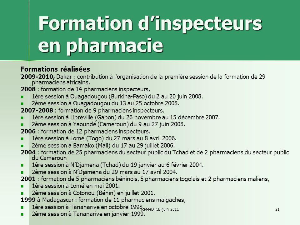 Formation d'inspecteurs en pharmacie