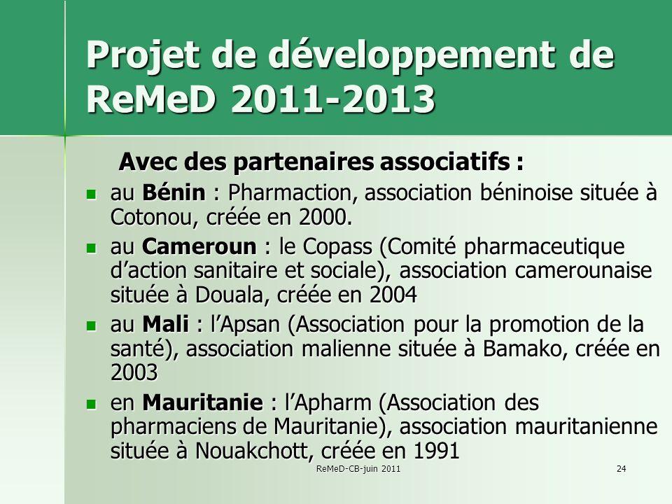 Projet de développement de ReMeD 2011-2013