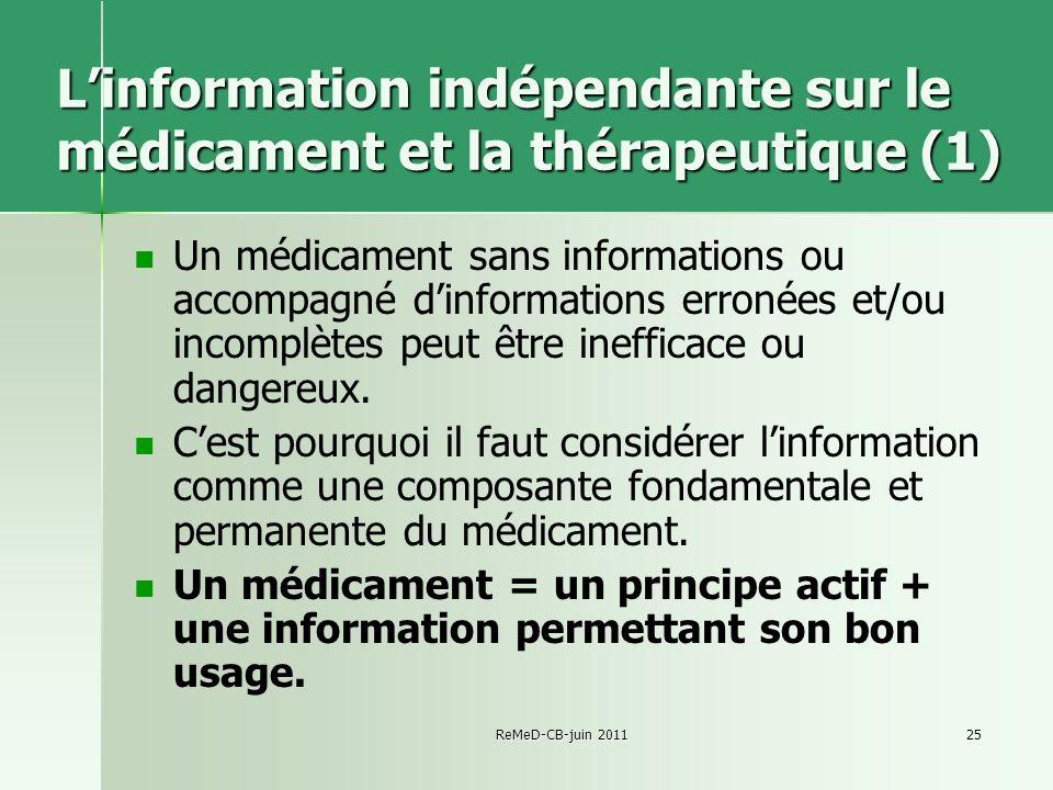 L'information indépendante sur le médicament et la thérapeutique (1)