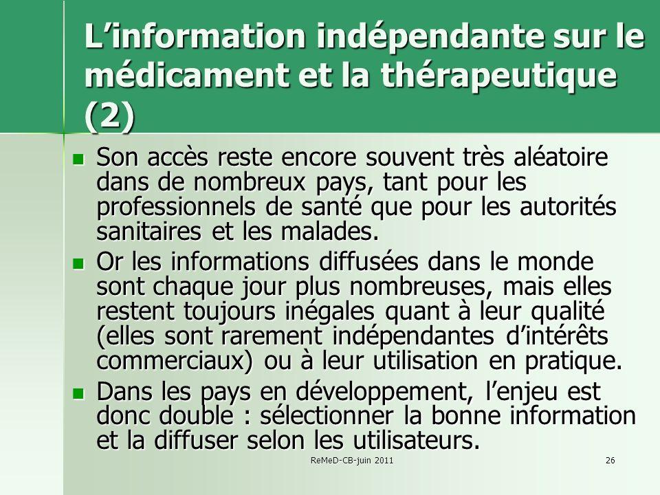 L'information indépendante sur le médicament et la thérapeutique (2)