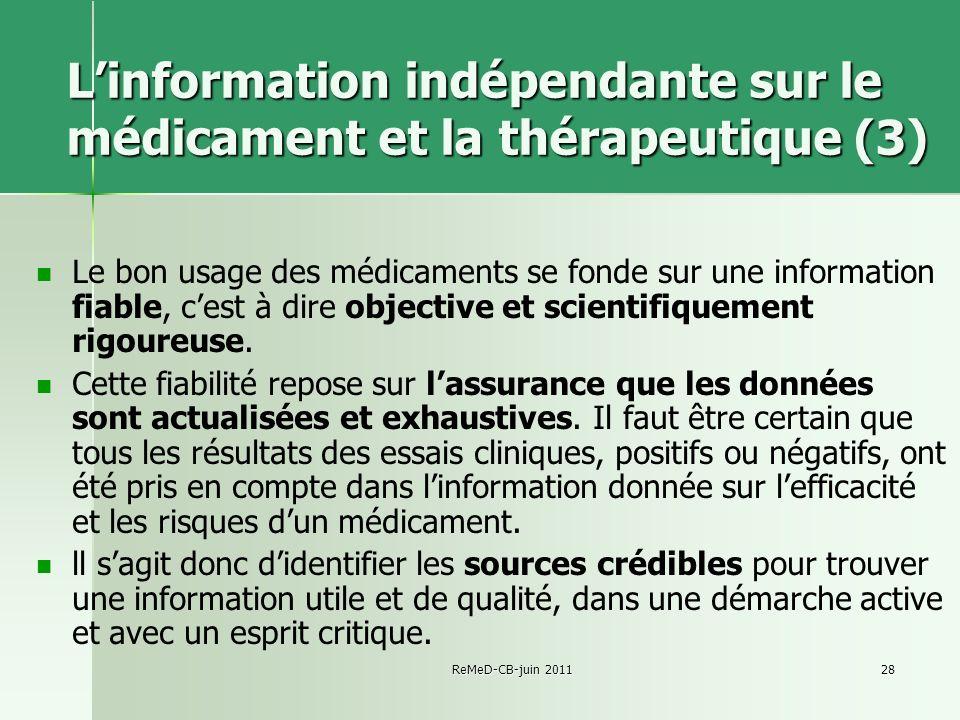 L'information indépendante sur le médicament et la thérapeutique (3)