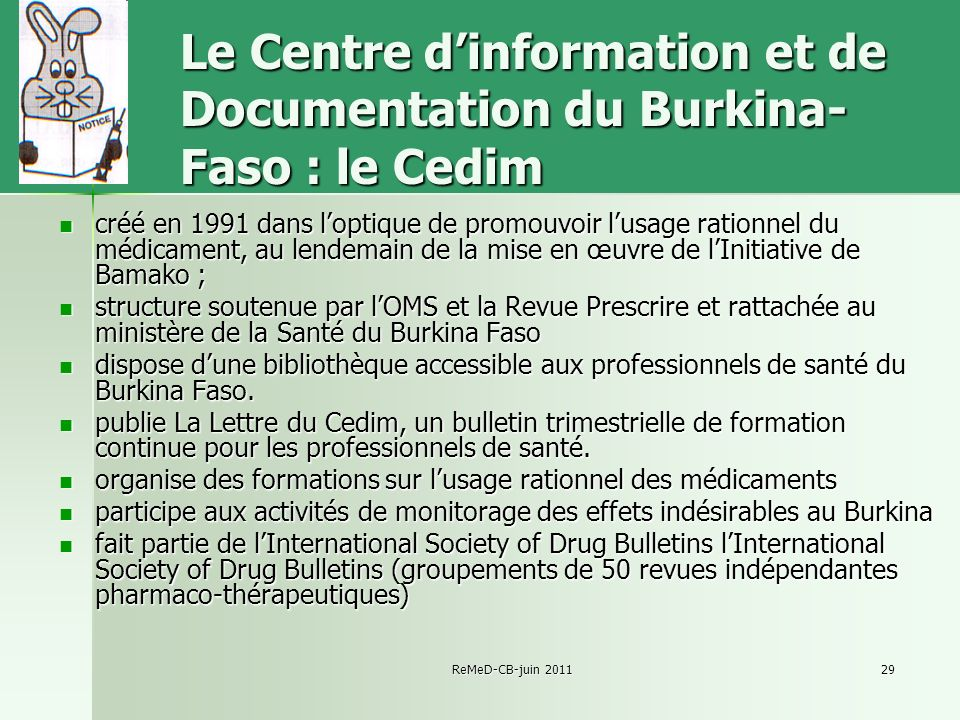 Le Centre d'information et de Documentation du Burkina-Faso : le Cedim