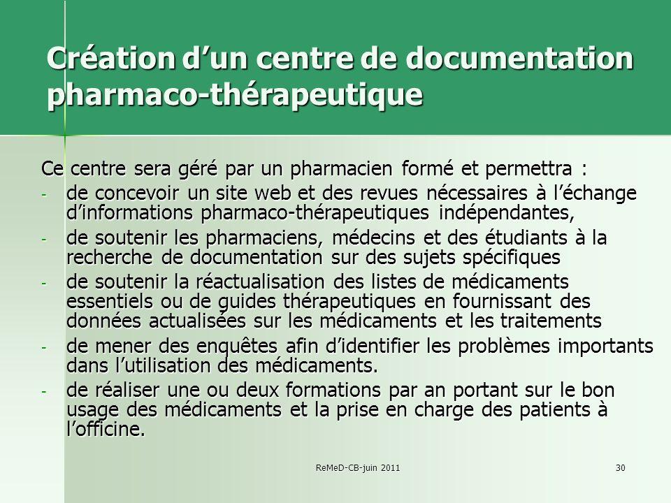 Création d'un centre de documentation pharmaco-thérapeutique