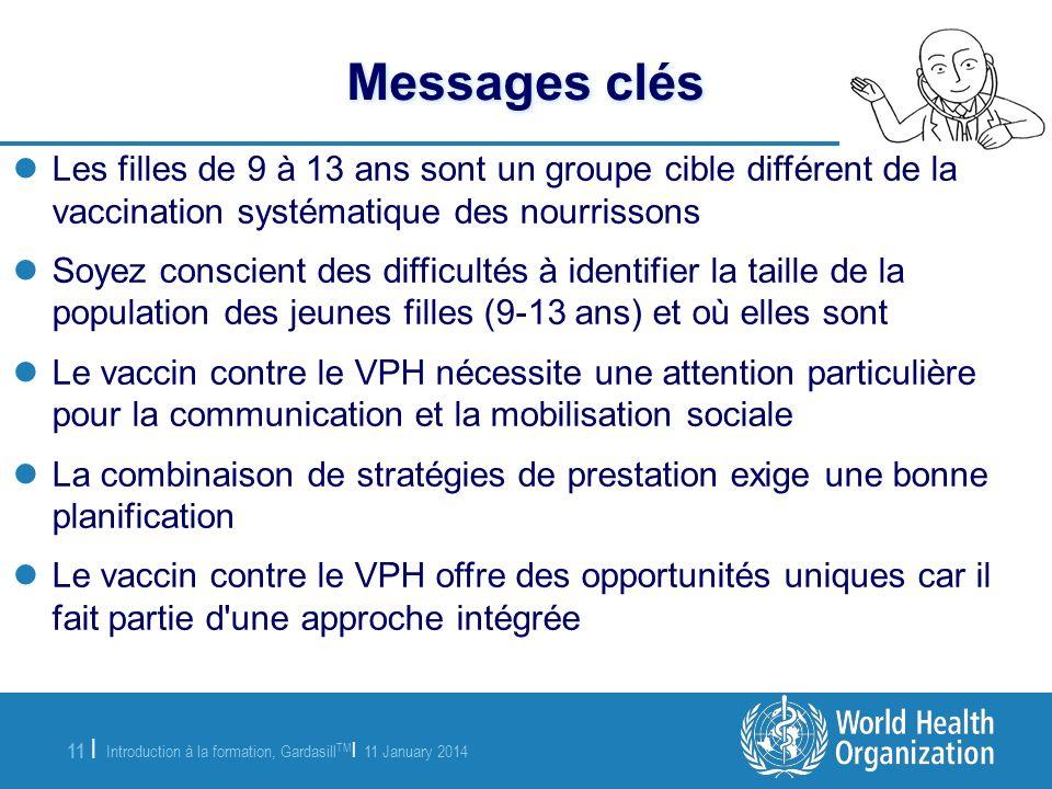 Messages clés Les filles de 9 à 13 ans sont un groupe cible différent de la vaccination systématique des nourrissons.