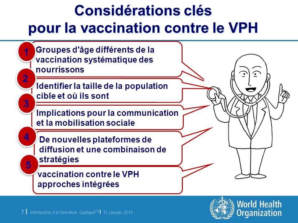 Considérations clés pour la vaccination contre le VPH