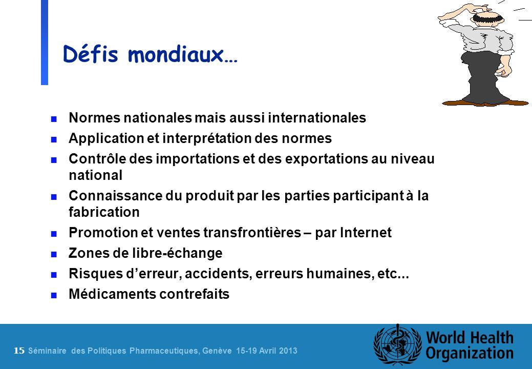 Défis mondiaux… Normes nationales mais aussi internationales