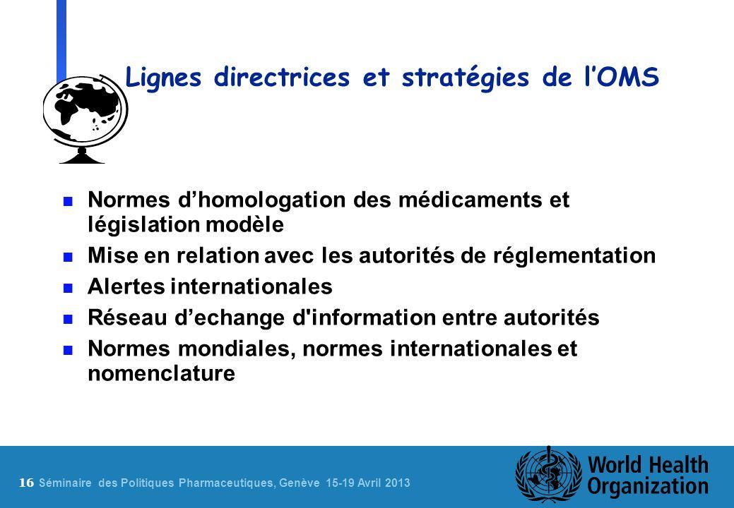 Lignes directrices et stratégies de l'OMS
