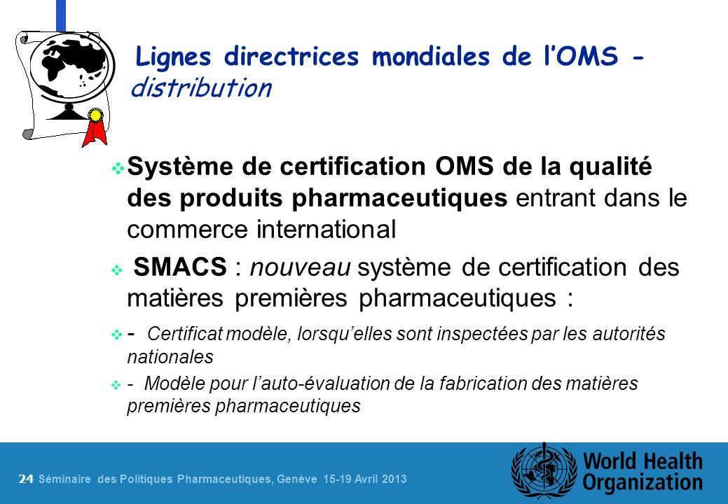 Lignes directrices mondiales de l'OMS - distribution