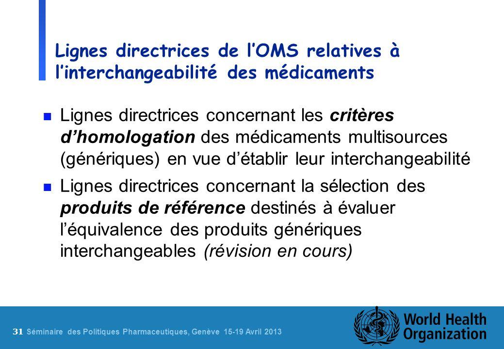 Lignes directrices de l'OMS relatives à l'interchangeabilité des médicaments