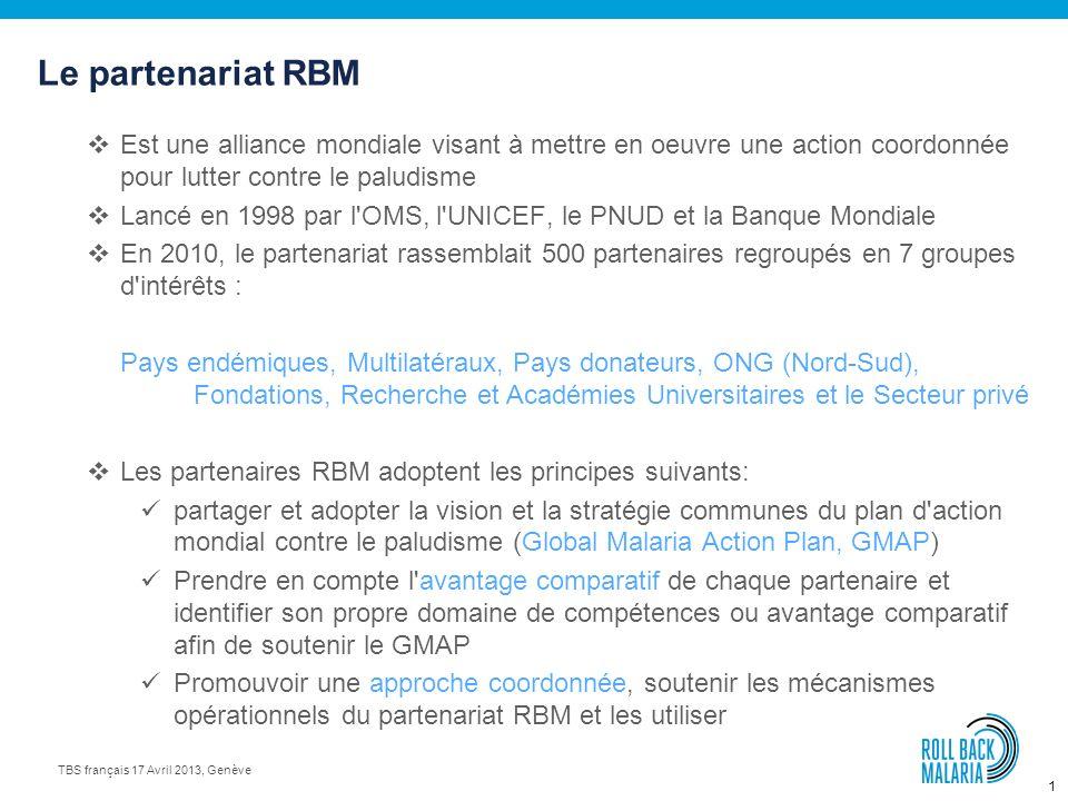 Le partenariat RBM Est une alliance mondiale visant à mettre en oeuvre une action coordonnée pour lutter contre le paludisme.