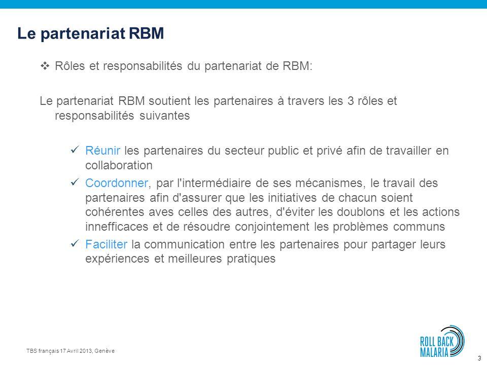 Le partenariat RBM Rôles et responsabilités du partenariat de RBM: