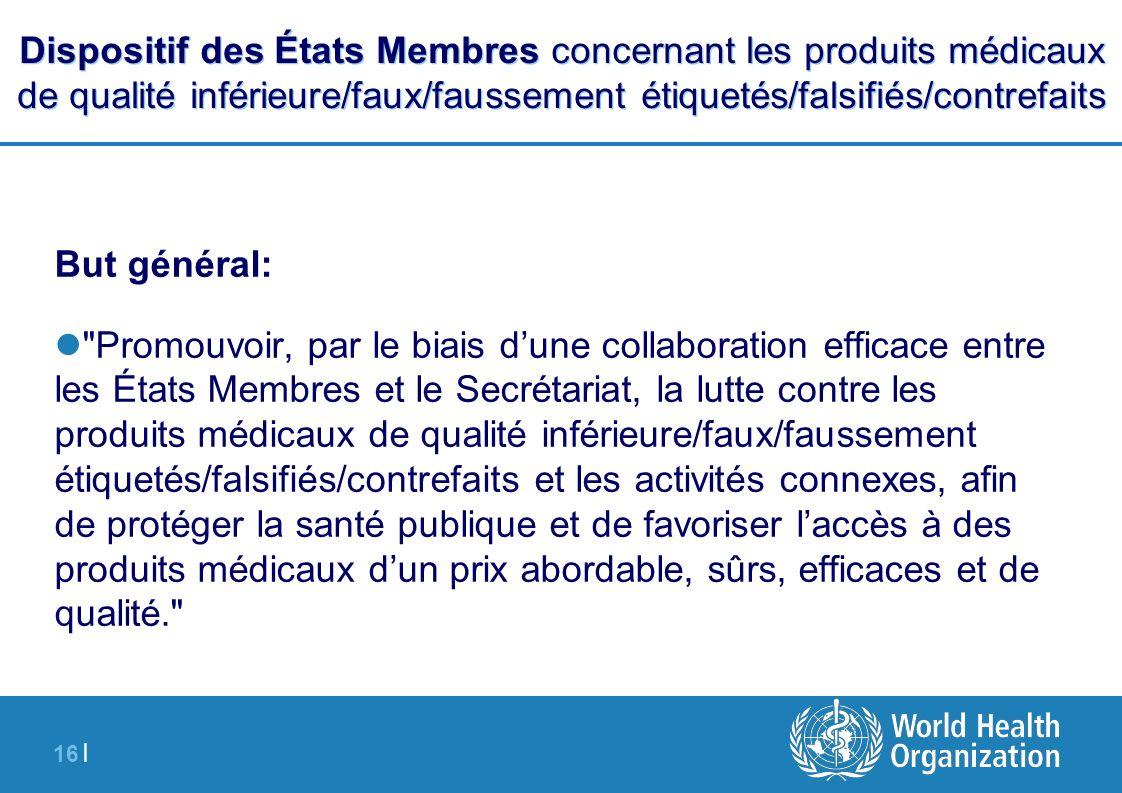 Dispositif des États Membres concernant les produits médicaux de qualité inférieure/faux/faussement étiquetés/falsifiés/contrefaits