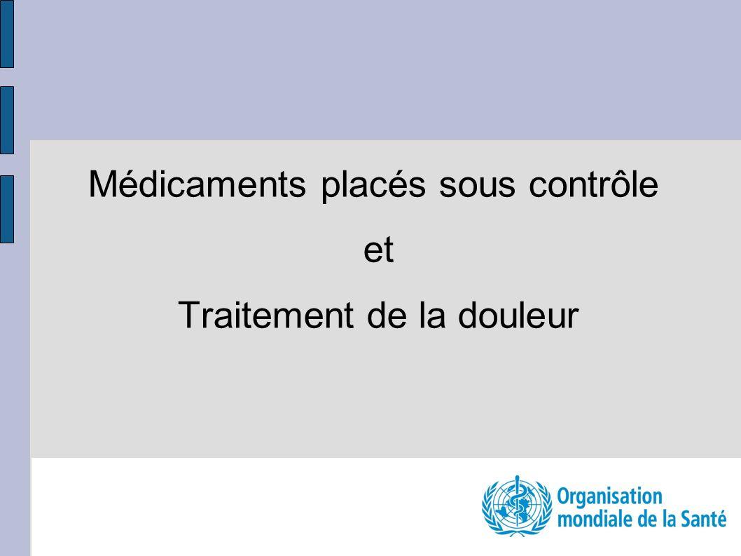 Médicaments placés sous contrôle et Traitement de la douleur