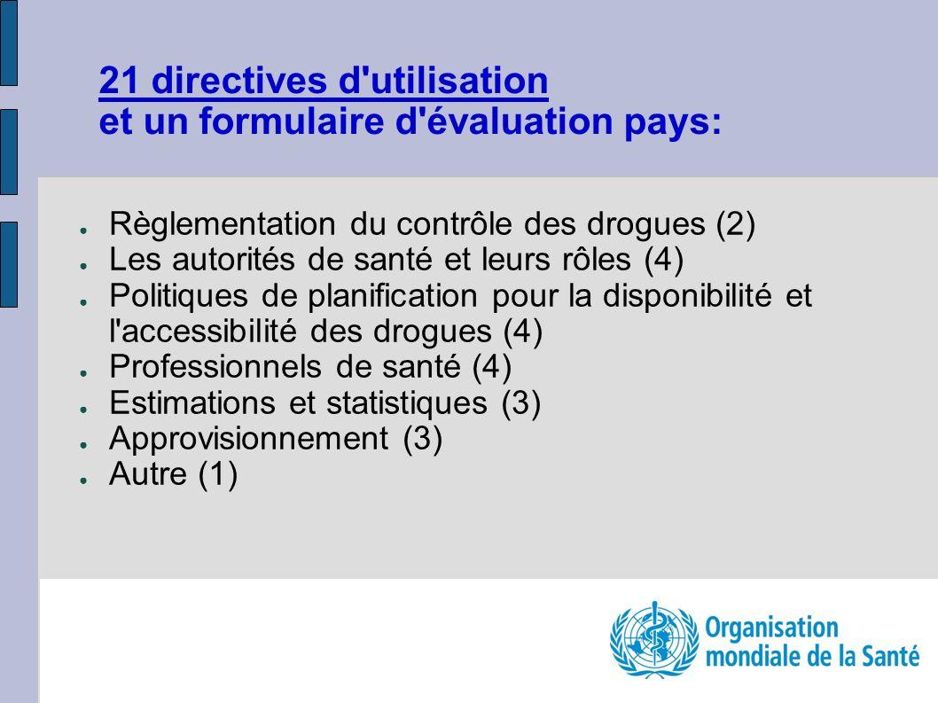 21 directives d utilisation et un formulaire d évaluation pays: