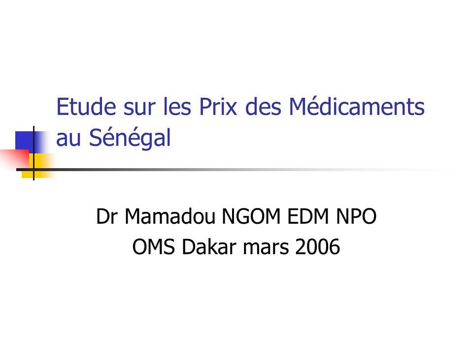 Etude sur les Prix des Médicaments au Sénégal