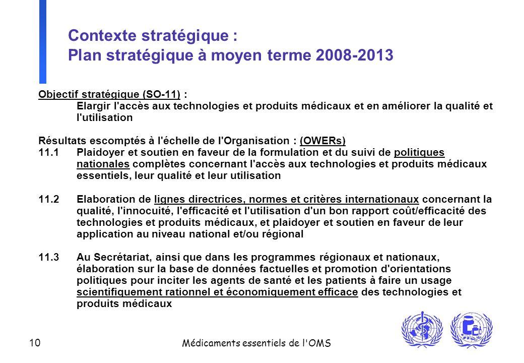 Contexte stratégique : Plan stratégique à moyen terme 2008-2013