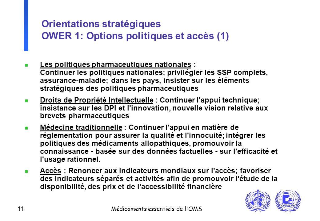 Orientations stratégiques OWER 1: Options politiques et accès (1)