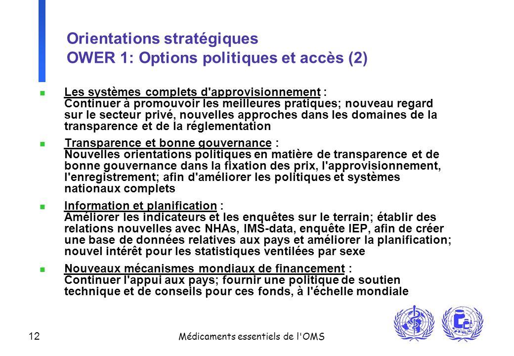 Orientations stratégiques OWER 1: Options politiques et accès (2)