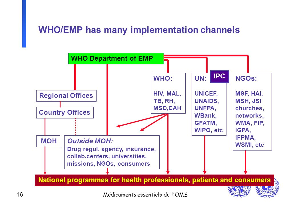 WHO/EMP has many implementation channels