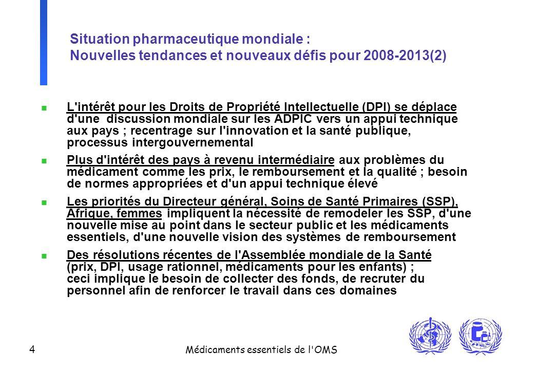 Situation pharmaceutique mondiale : Nouvelles tendances et nouveaux défis pour 2008-2013(2)