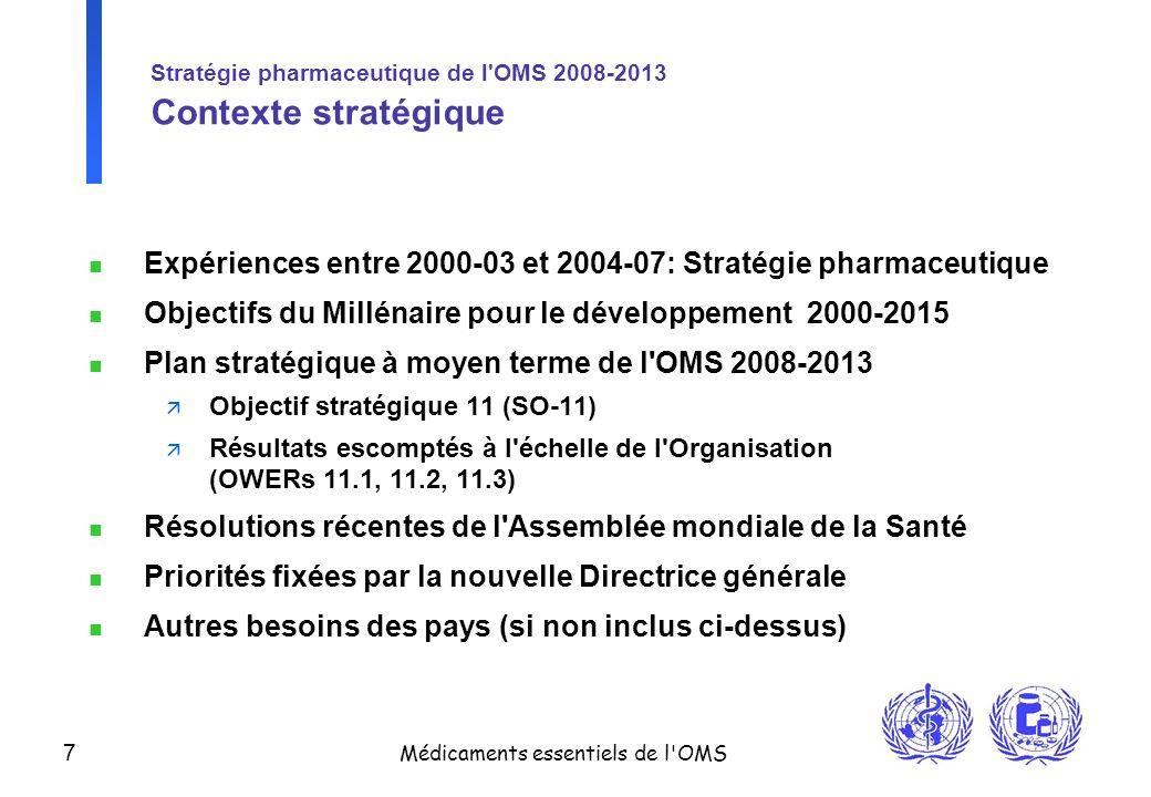 Stratégie pharmaceutique de l OMS 2008-2013 Contexte stratégique