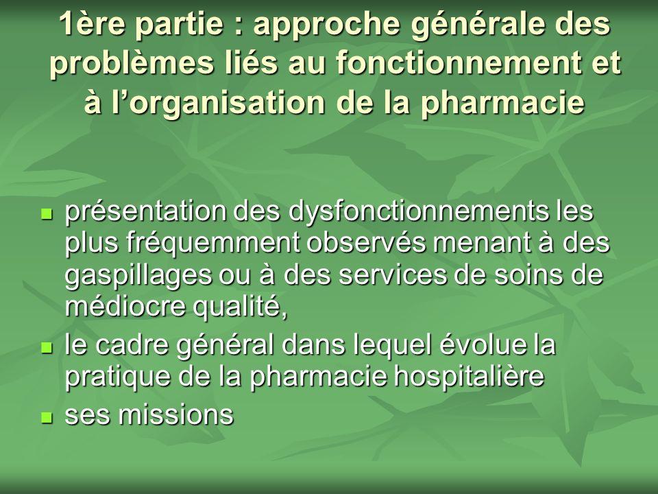 1ère partie : approche générale des problèmes liés au fonctionnement et à l'organisation de la pharmacie