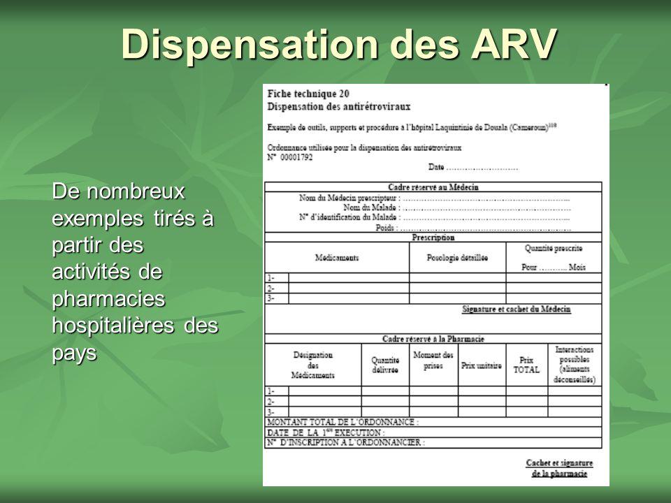 Dispensation des ARV De nombreux exemples tirés à partir des activités de pharmacies hospitalières des pays.