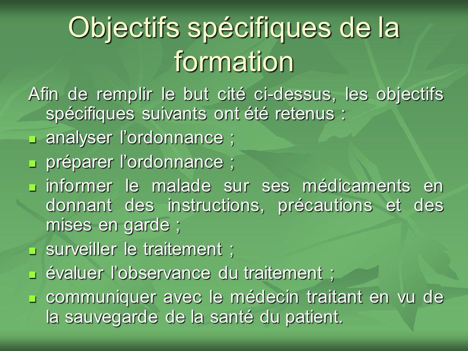 Objectifs spécifiques de la formation