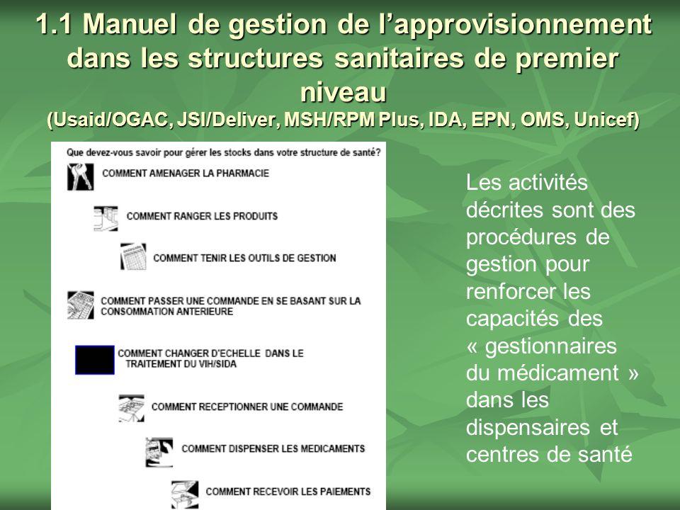 1.1 Manuel de gestion de l'approvisionnement dans les structures sanitaires de premier niveau (Usaid/OGAC, JSI/Deliver, MSH/RPM Plus, IDA, EPN, OMS, Unicef)