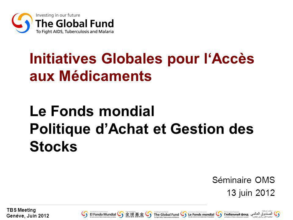 Initiatives Globales pour l'Accès aux Médicaments Le Fonds mondial Politique d'Achat et Gestion des Stocks