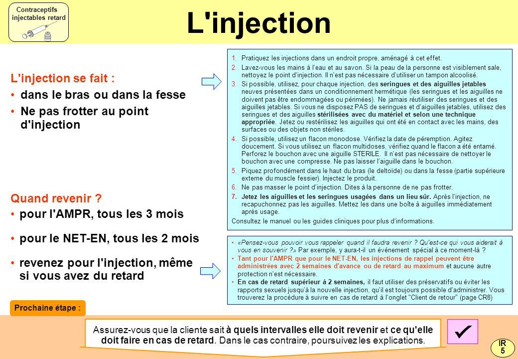 L injection L injection se fait : dans le bras ou dans la fesse