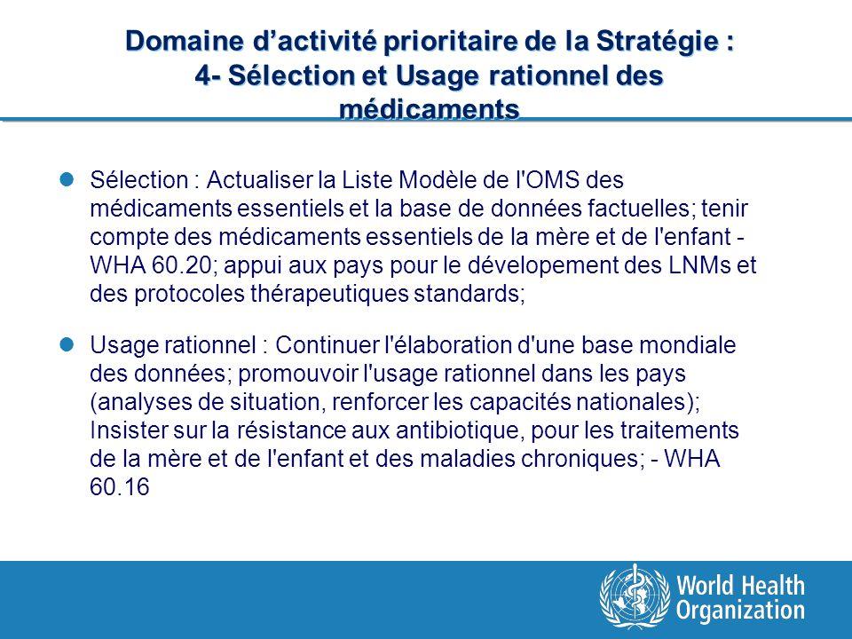 Domaine d'activité prioritaire de la Stratégie : 4- Sélection et Usage rationnel des médicaments