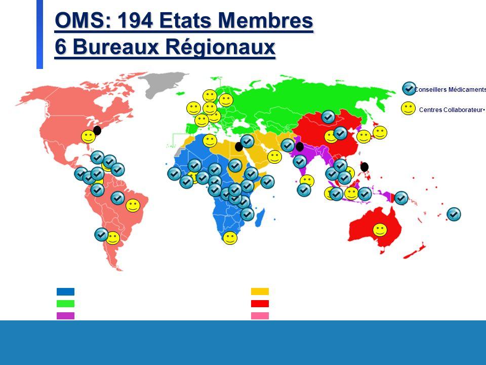 OMS: 194 Etats Membres 6 Bureaux Régionaux