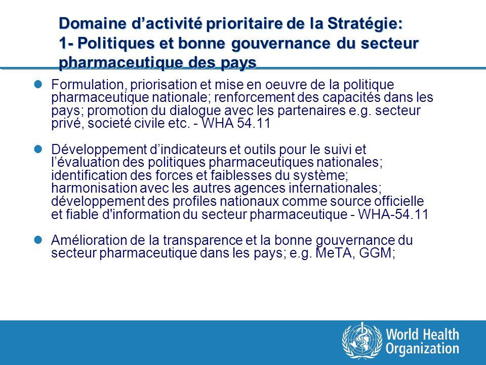 Domaine d'activité prioritaire de la Stratégie: 1- Politiques et bonne gouvernance du secteur pharmaceutique des pays