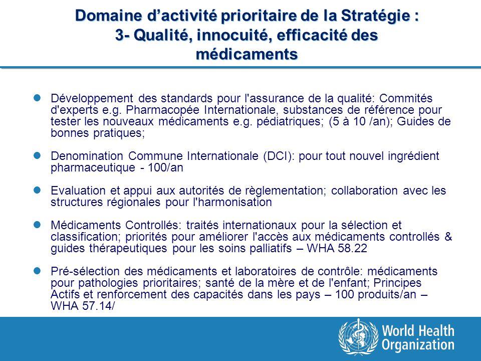 Domaine d'activité prioritaire de la Stratégie : 3- Qualité, innocuité, efficacité des médicaments