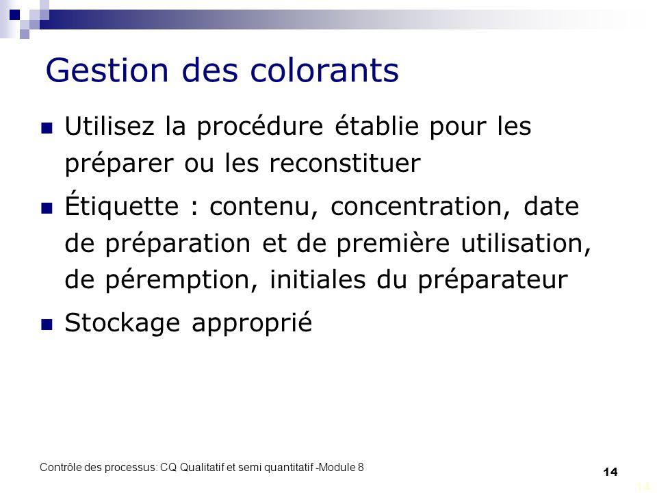 Gestion des colorants Utilisez la procédure établie pour les préparer ou les reconstituer.