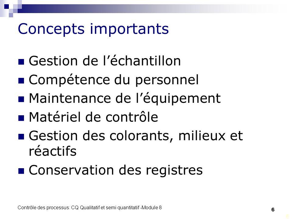 Concepts importants Gestion de l'échantillon Compétence du personnel