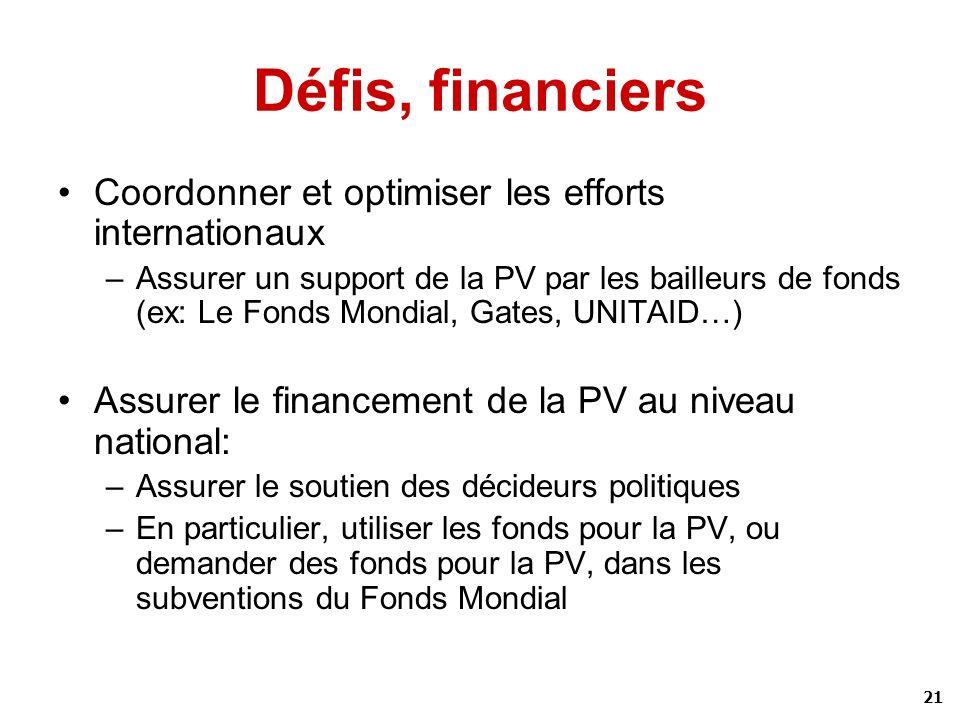 Défis, financiers Coordonner et optimiser les efforts internationaux