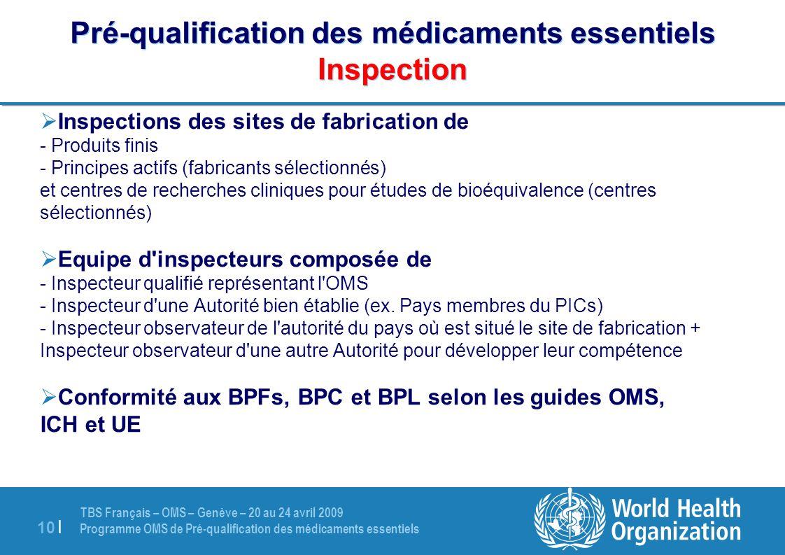 Pré-qualification des médicaments essentiels Inspection